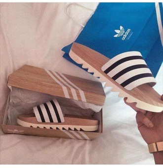 shoes sandals slide shoes black and white flats adidas stripes adidas shoes slip on shoes wood white