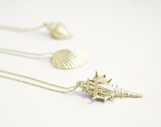 jewels gold necklace sea shells shell sea creatures