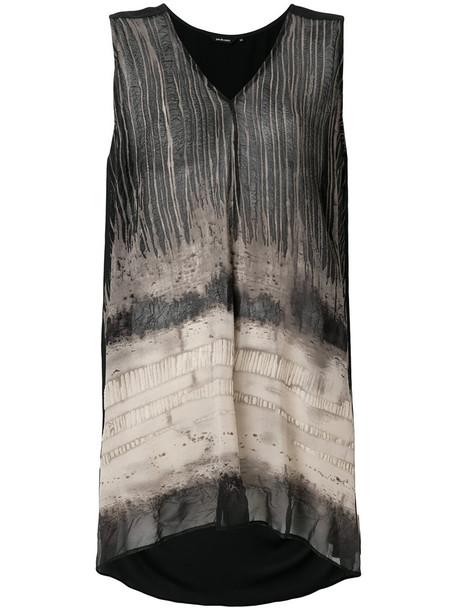 Pas De Calais - pattern print tank top - women - Polyester - 34, Black, Polyester