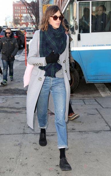 sweater alexa chung coat jeans scarf