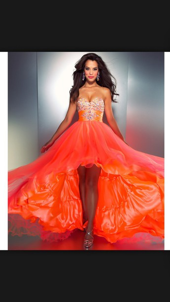 dress orange hi-lo diamonds
