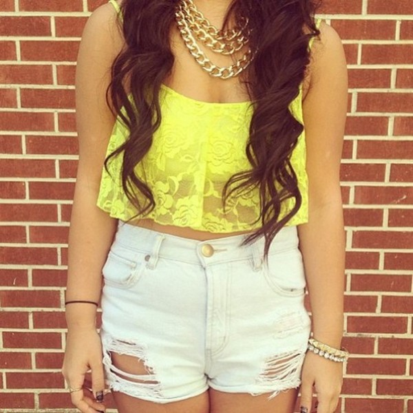 shirt clothes neon yellow yellow shorts ripped neon jewelry