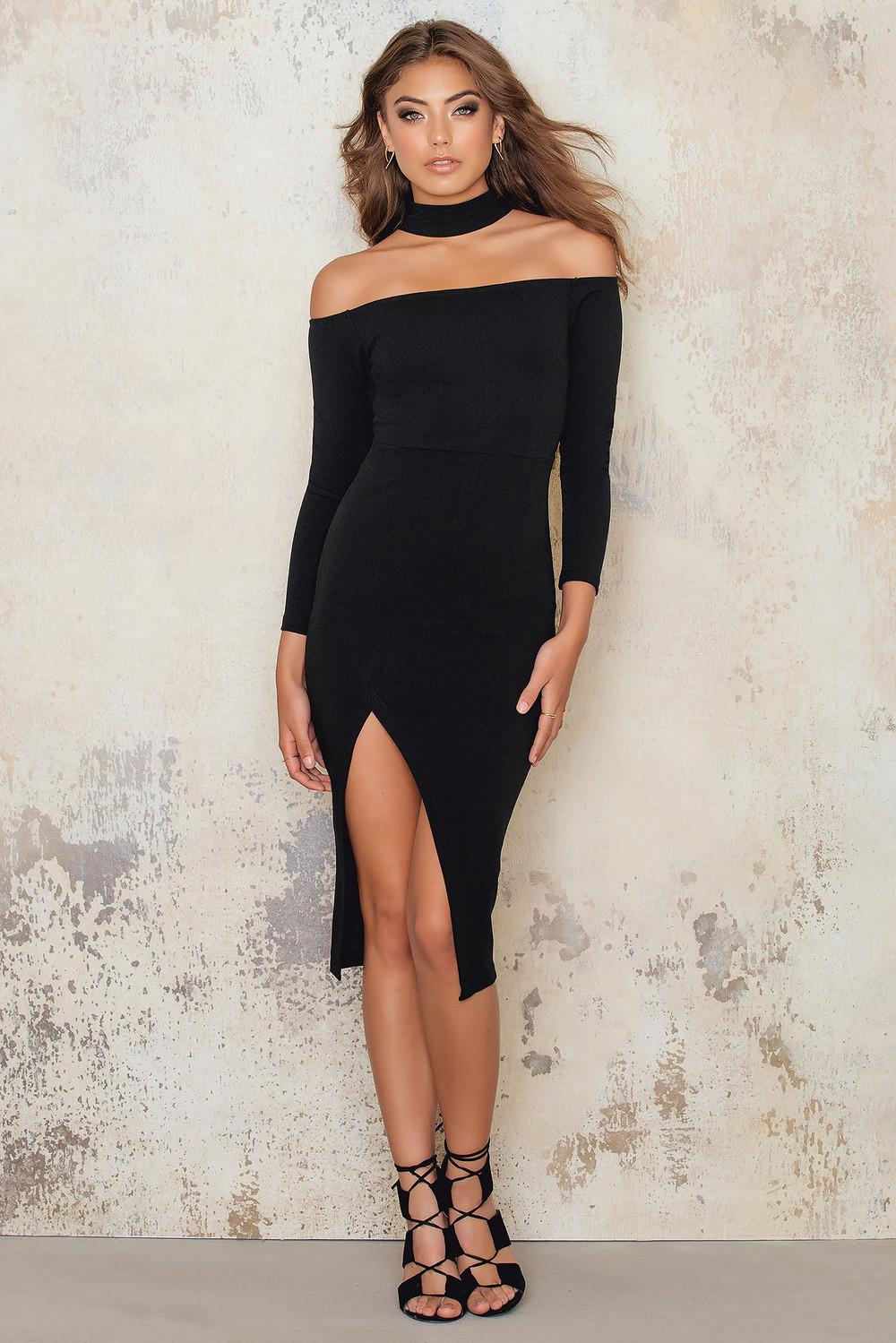 NaaNaa Off Shoulder Midi Dress Choker Neck Thigh Split