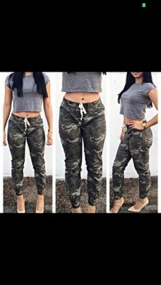 pants camo pants crop tops grey crop top heels camouflage blouse shoes red lime sunday