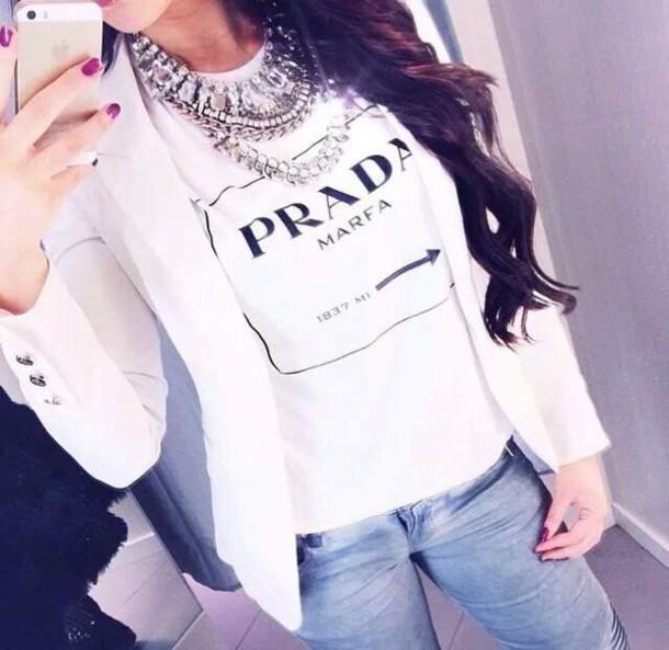 t-shirt jewels t-shirt prada white jacket white jacket white shirt blouse