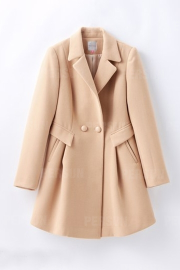 Sweety Double Breasted Slim Coat with Founcing in Khaki [FEBK0597] - PersunMall.com