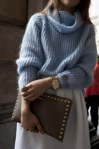 sweater pastel baby blue cowl oversized turtleneck pale blue light blue periwinkle