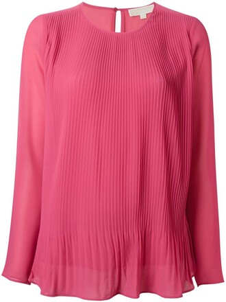 blouse pleated women purple pink top