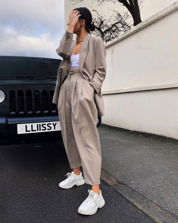 pants white sneakers beige blazer calvin klein bra streetstyle high waisted underwear sports bra suit