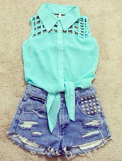 blouse,clothes,shorts,studs,mint,denim,summer,shirt,torquioise,blue,cut-out,sleeveless,denim shorts,collar blouse,High waisted shorts,t-shirt,amazing,beautiful,girl,chic,one direction,teenagers,sleeveless top,high waisted denim shorts,aqua,collar,beach,turquoise,cute,cut off shorts,knotted,tank top,teal,holes,ties in the front,summer outfits,pretty,light blue,booty shorts,baby blue,bustier crop top,bubblegum,tirquoise,polo shirt,hipster,top,studded shorts,girly,sun,cut out blouse,blue blouse,blue tank top,light blue shirt,hair accessory,jewels,crop tops