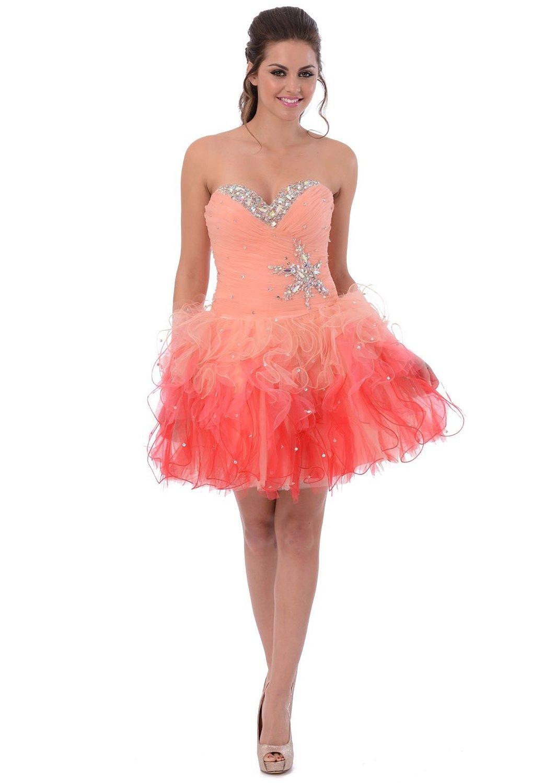 Amazon.com: Tonal Ruffle Short Prom Homecoming Dress Sweet 16: Clothing
