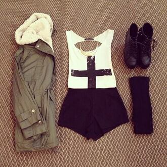 t-shirt jacket coat shorts shoes jewelry cute outfits blouse tank top the whole outfit shirt white black summer corss sequins green cream lining cross boots tights socks fall outfits belt preferably the same but i don't mind something else that is interesting army green jacket