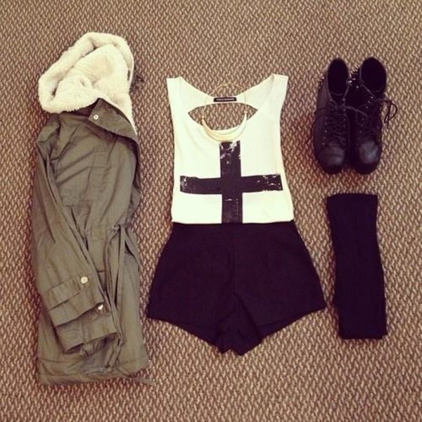 t-shirt jacket coat shorts shoes jewelry cute outfits blouse tank top the whole outfit shirt white black summer corss sequins green cream lining cross boots tights socks fall outfits fall outfits belt preferably the same but i don't mind something else that is interesting army green jacket