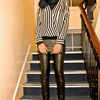 leggings cute black shoes bag high heels studs blouse white pumps ootn chic oversized clutch clutch edgy style pleather faux leather leggings vertical stripes black and white striped blouse heels, pumps, red, shoes, high heels, head scarf scarf red