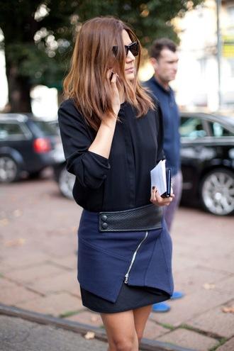 skirt zip blue skirt black leather christine centenera harpers bazaar stylish