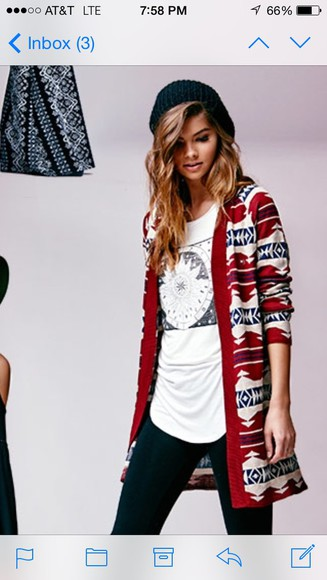 aztec tribal pattern cardigan pacsun