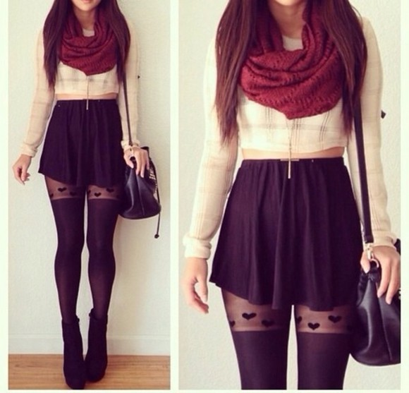 scarf tights cute sweater winter outfits purse shirt t-shirt crop tops top pants shoes bag leggings pantyhose skirt tank top lace tights accesories necklace blouse heart tights handbag cross necklace skirt, shirt, tights, purse skater skirt hearts black black skater skirt red scarf cute scarf jacket stockings