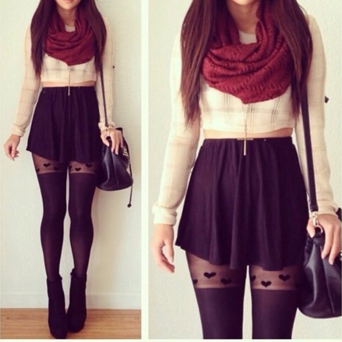 jewels scarf bag crop tops skirt tights tank top necklace blouse hearts tights handbag skirt purse cute skater skirt heart black black skater skirt red scarf jacket sweater winter outfits short flowy mini skirt high heels fall outfits girly adorable cropped sweater off-white socks scarf red