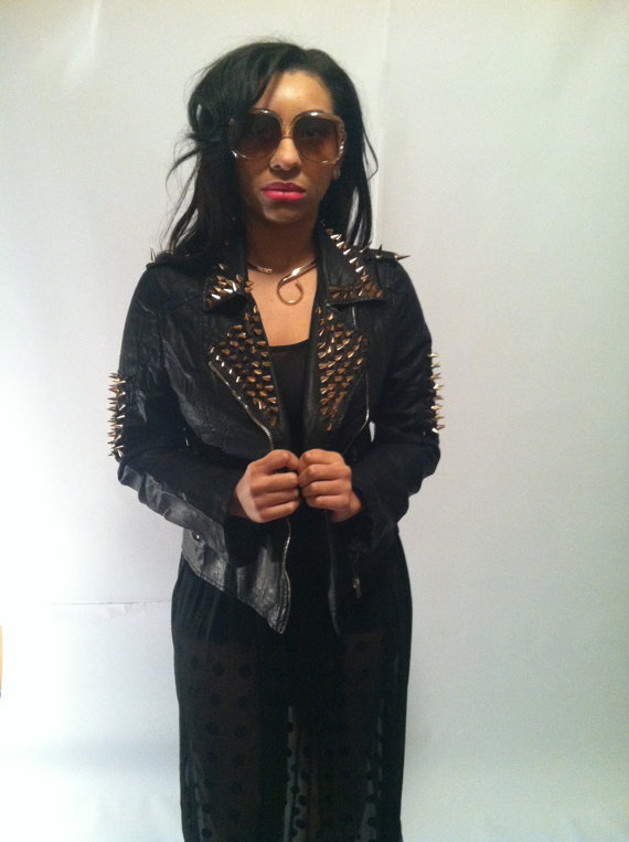 Spiked leather jacket by thechicshack1414 on etsy