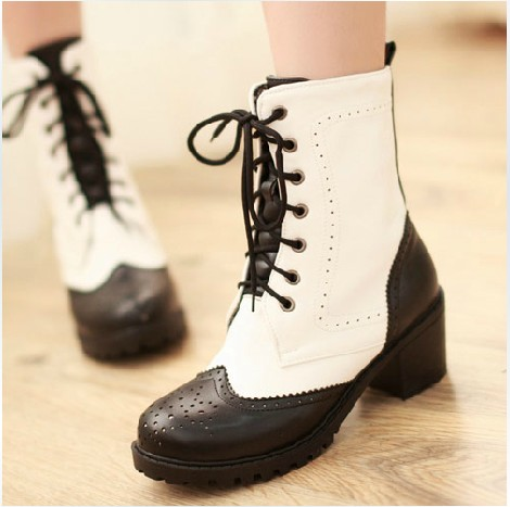 Oxford Matte Bicolor Lace Up Boots on Luulla
