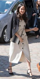 dress,jacket,midi dress,pumps,meghan markle,spring outfits,spring dress,blazer,stripes,striped dress,shoes,bag