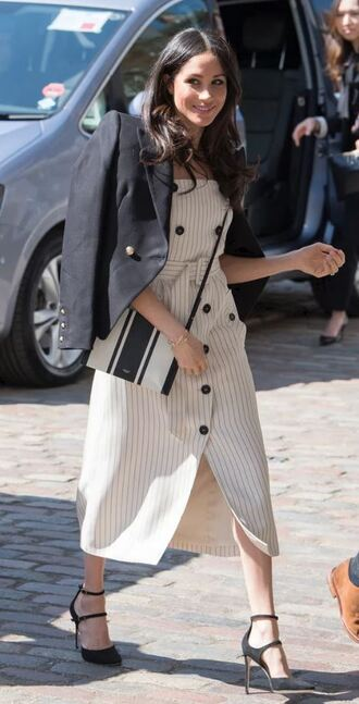 dress jacket midi dress pumps meghan markle spring outfits spring dress blazer stripes striped dress shoes bag