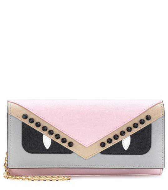 Fendi leather clutch embellished clutch leather bag