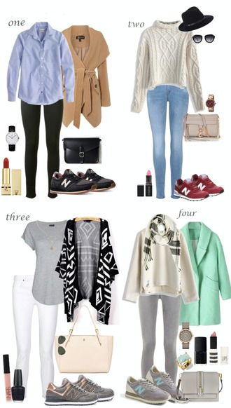 lilly's style blogger jewels hat sunglasses winter outfits lipstick skinny jeans white pants black pants grey pants black bag white sweater blue top grey top green coat grey bag white bag beige coat black sneakers red shoes grey sneakers