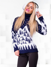 sweater,zefinka,reindeer sweater,deer,norway print,christmas,christmas sweater,blue