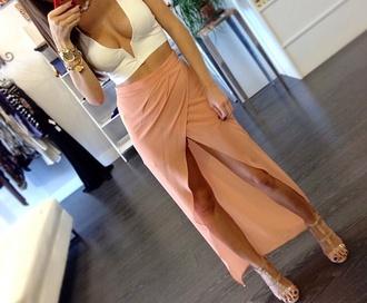 skirt maxi skirt blouse nude