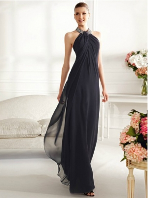 Buy Goreous Dark Navy Sheath/Column Halter Floor Length Prom Dress under 200-SinoAnt.com