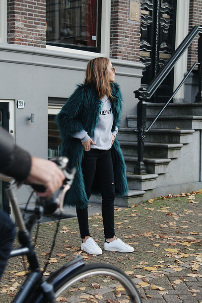 fashion and style blogger shoes jeans sweater coat sunglasses bag fuzzy coat green coat faux fur coat sneakers black jeans adidas shoes winter outfits t-shirt