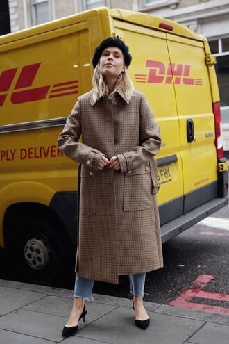 coat tumblr brown coat long coat denim jeans blue jeans shoes slingbacks mid heel pumps hat beret