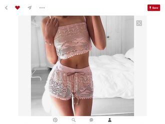 pajamas shorts shirt lace pretty pink pastel hot sexy crop tops ribbon fashion pastel pink mesh cute kawaii outfit instagram dress top pink top pink shorts matching shorts and top strapless top jumpsuit matching set