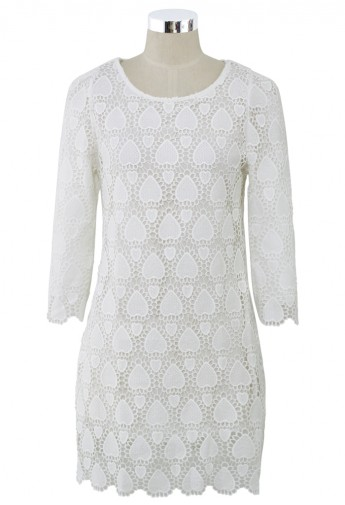 Crochet Heart White Dress - Retro, Indie and Unique Fashion