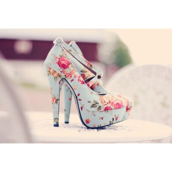 floral high heels high heels vintage floral shoes floral high heels strappy heels light blue