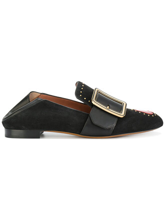studded women loafers leather suede black shoes