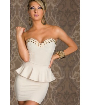 White Sweetheart Stud Peplum Dress | Forever Young