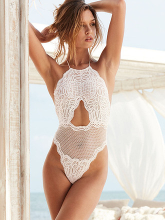 underwear bodysuit josephine skriver model lace lingerie top victoria's secret victoria's secret model