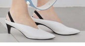 shoes,white mules kitten heels withh black strap op at back