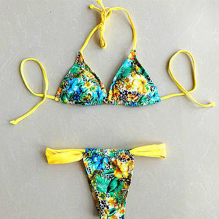 Colorful floral pattern ropes swimsuit bikini