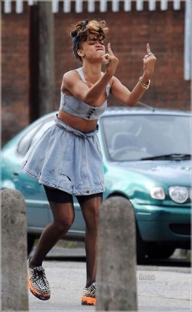 skirt denim bra bralette rihanna rihanna style cute style fashion ...