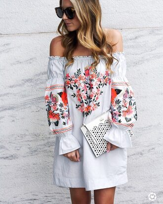 dress tumblr embroidered rose embroidered long sleeves long sleeve dress white dress sunglasses bag
