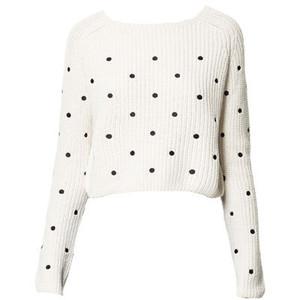 Zara embroidered polka dot sweater