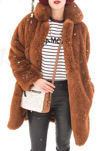 thank fifi blogger t-shirt pants shoes bag teddy bear teddy bear coat winter outfits crossbody bag