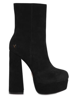 boots platform boots suede black shoes