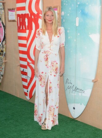 shoes sandals wedges dress maxi dress gwyneth paltrow summer dress floral dress