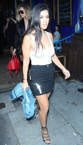 top bodysuit mini skirt sandals kourtney kardashian kardashians tank top