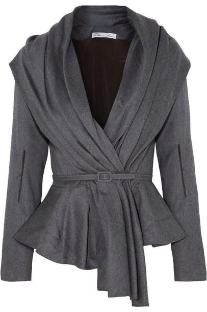 cardigan oscar de la renta skyline belted jacket wool blend