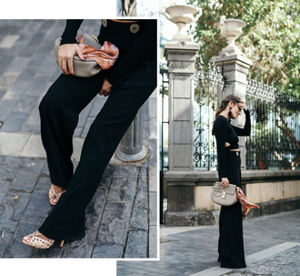 seams for a desire blogger jacket top pants shoes bag black pants crop tops grey bag flare pants high heel sandals sandals